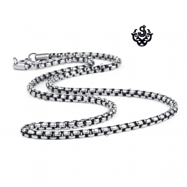 Silver necklace solid stainless steel vintage style link chain length 3