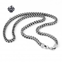 Silver black necklace solid stainless steel vintage style link chain length 1