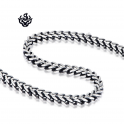 Silver black necklace solid stainless steel vintage style link chain length 2