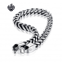 Silver black stainless steel vintage style solid chain bracelet length 2