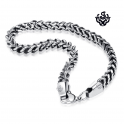 Silver black stainless steel vintage style solid chain bracelet length 1