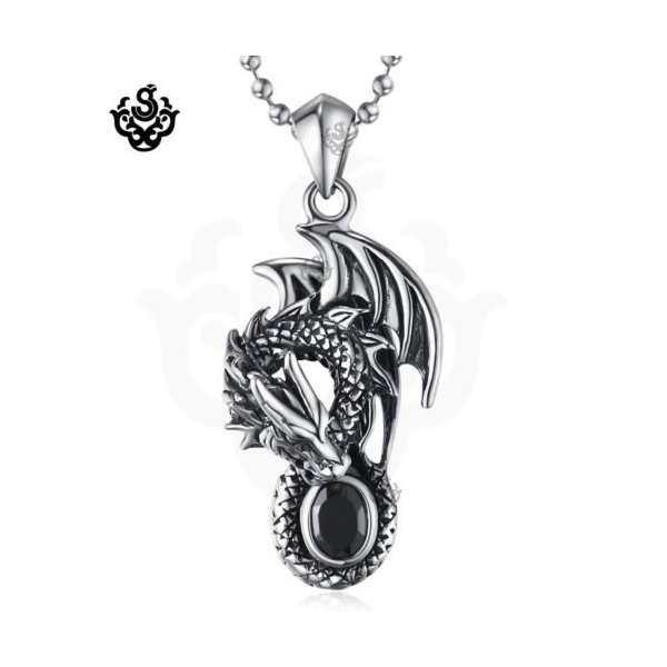 Silver pendant vintage style stainless steel dragon black onyx silver pendant vintage style stainless steel dragon black onyx necklace loading zoom aloadofball Image collections