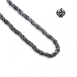 Silver necklace stainless steel chain mens 55cm 21.5 inches 3mm vintage style