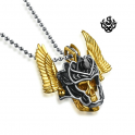 Gold skull pendant stainless steel chain necklace vintage style black crystal 3D