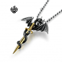 silver dragon pendant stainless steel chain necklace vintage style gold sword