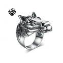 Silver war horse bikies ring solid stainless steel band soft gothic