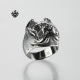 Silver dog Bulldog ring solid stainless steel band