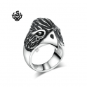 Silver eagle bikies ring solid stainless steel band soft gothic