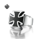 Silver black cross bikies ring solid stainless steel band soft gothic