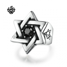 Silver Magen David ring solid stainless steel band black swarovski crystal BIG