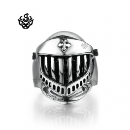 Silver bikies ring solid stainless steel skull knight helmet band openable