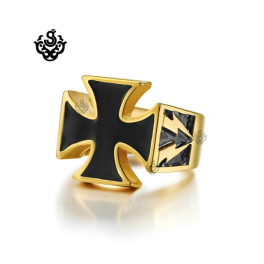Gold black cross bikies ring solid stainless steel lightning band soft gothic