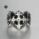 Silver cross fleur-de-lis ring solid stainless steel Celtic band