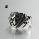 Silver cross claws ring solid stainless steel Celtic band