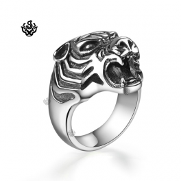 Silver tiger bikies ring solid stainless steel band