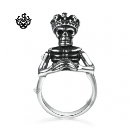 Silver bikies ring solid stainless steel Pharaoh king skull king crown band