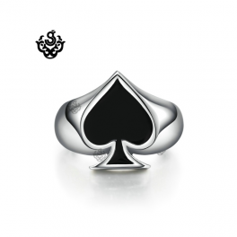 Silver bikies ring solid stainless steel poker spade band