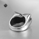 Silver ring owl solid stainless steel band soft gothic