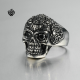 Silver bikies ring solid stainless steel skull black swarovski crystal bandsolid heavy stainless steel band