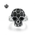 Silver skull ring solid stainless steel band soft gothic