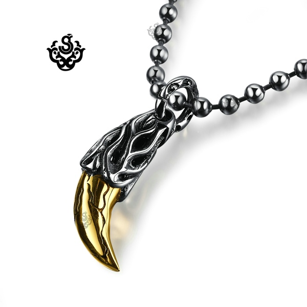 Silver Gold Wolf Tooth Pendant Solid Stainless Steel Chain
