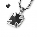 Silver black cross pendant stainless steel necklace