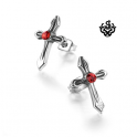 Silver cross stud red swarovski crystal stainless steel earrings soft gothic