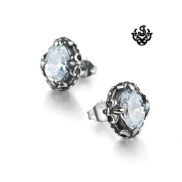 Silver stud oval swarovski crystal earrings vintage style