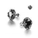 Silver stud oval black swarovski crystal earrings vintage style