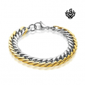 Details about Silver gold bracelet biker chain chunky heavy stainless steel 225mm long 10mm wide