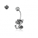Silver stud swarovski crystal stainless steel the frog prince belly ring