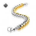 Details about Silver gold bracelet biker chain chunky heavy stainless steel 225mm long 13mm wide