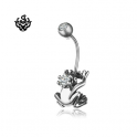 Silver stud swarovski crystal stainless steel the clear frog prince belly ring