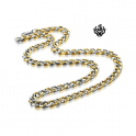 Details about Silver gold 2-tone necklace solid stainless steel Miami Cuban Link Chain 24""