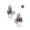 Silver stud red swarovski crystal stainless steel scorpion earrings