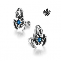 Silver stud blue swarovski crystal stainless steel scorpion earrings