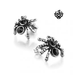 Silver spider stud stainless steel black cz earrings