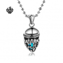 Silver filigree Fleur-De-Lis pendant stainless steel swarovski blue crystal necklace