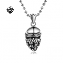 Silver filigree Fleur-De-Lis pendant stainless steel swarovski black crystal necklace