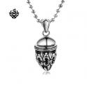 Silver filigree Fleur-De-Lis pendant stainless steel swarovski black crystal necklace