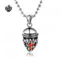 Silver filigree Fleur-De-Lis pendant stainless steel swarovski red crystal necklace