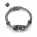 Silver bracelet bikies chain stainless steel skull crown snake solid soft gothic