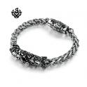 Silver bracelet black swarovski crystal chain stainless steel fleur-de-lis