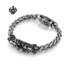 Silver bracelet black swarovski crystal chain stainless steel fleur-de-lis 647c83336f