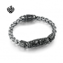 Silver bracelet bikies chain stainless steel skull solid soft gothic
