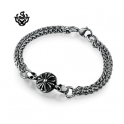 Silver bracelet double chain fleur-de-lis cross soft gothic