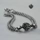 Silver bracelet double chain fleur-de-lis cross soft gothic