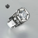 Silver ring simulated diamond stainless steel wedding engagement fashion