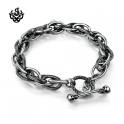Silver bracelet circle chain skull clasp twisted stainless steel soft gothic