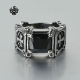 Silver ring black swarovski crystal stainless steel cross fashion band
